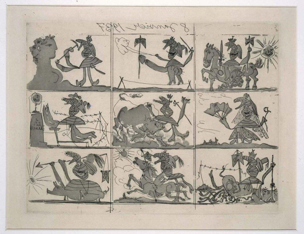 Cuadro Guernica de Picasso, Sueño y mentira de Franco, plancha I, 8 y 9 de enero de 1937.
