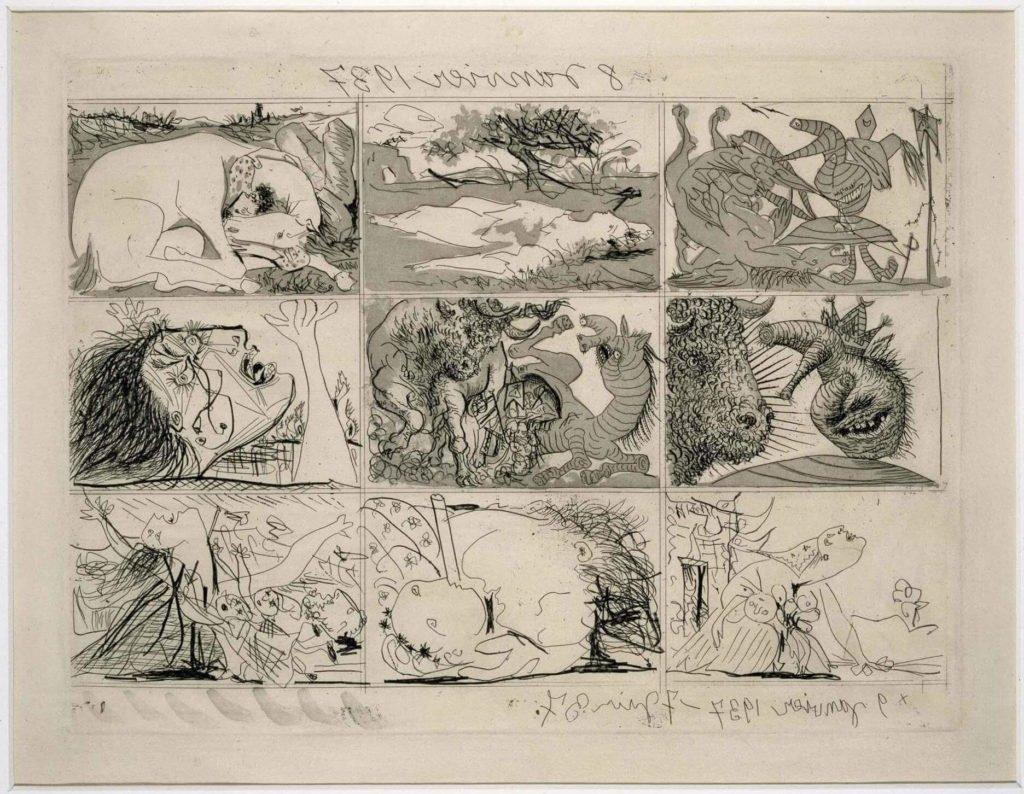 Cuadro Guernica de Picasso, Sueño y mentira de Franco, plancha II, acabadas el 7 de junio de 1937.