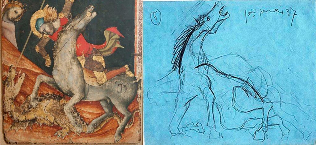 Vitale de Bologna, San Jorge y el Dragón (cuadro invertido) y estudio para caballo (estudio 5) de Picasso.