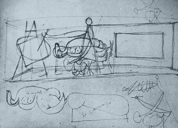 """Picasso, estudio para el mural del pabellón de la Exposición Internacional de París de 1937 (18 de abril 1937). Artista pintando a una """"maja desnuda""""."""