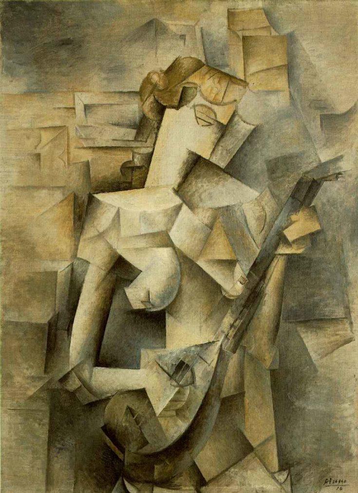 Picasso biografía corta, Muchacha con mandolina, 1910.