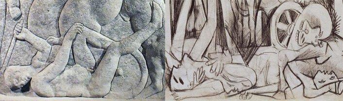 Detalle del Sarcófago Hipolito nº 11 del Museo Arqueológico de Tarragona (invertido) y detalle del estudio 15 de Picasso, del 9 de mayo de 1937.