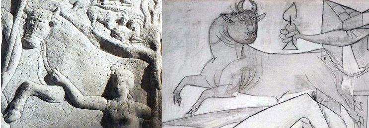 Detalle del Sarcófago Hipolito nº 11 del Museo Arqueológico de Tarragona (invertido) y detalle del estudio 10 de Picasso, del 2 de mayo de 1937.