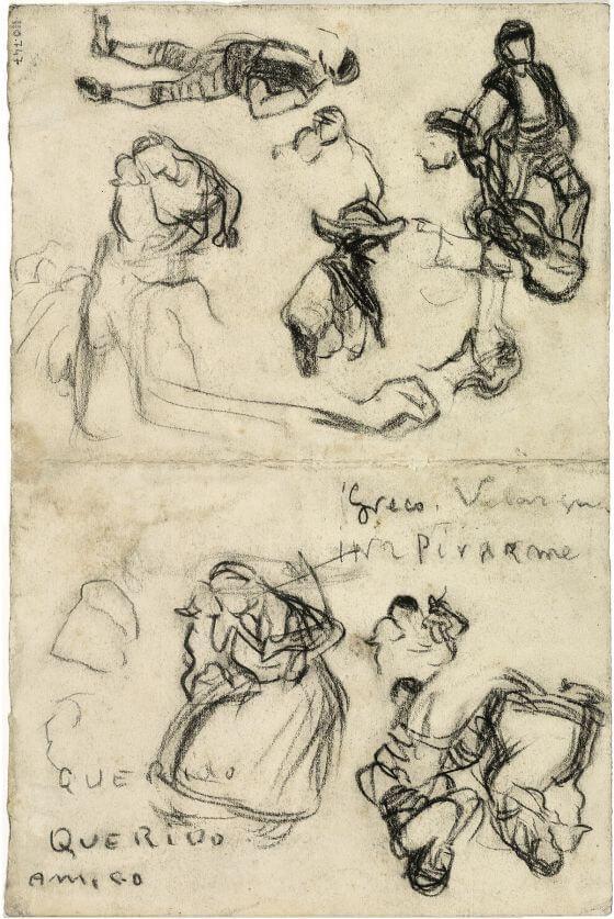 """Picasso, dibujo en el que se puede leer- """"Greco, Velázquez, inspiradme"""" Museo Picasso de Barcelona."""