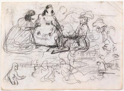 Picasso, apuntes de obras de Velázquez, Madrid 1897-1898 Lápiz Conté sobre papel 15,7 x 21,8 cm.