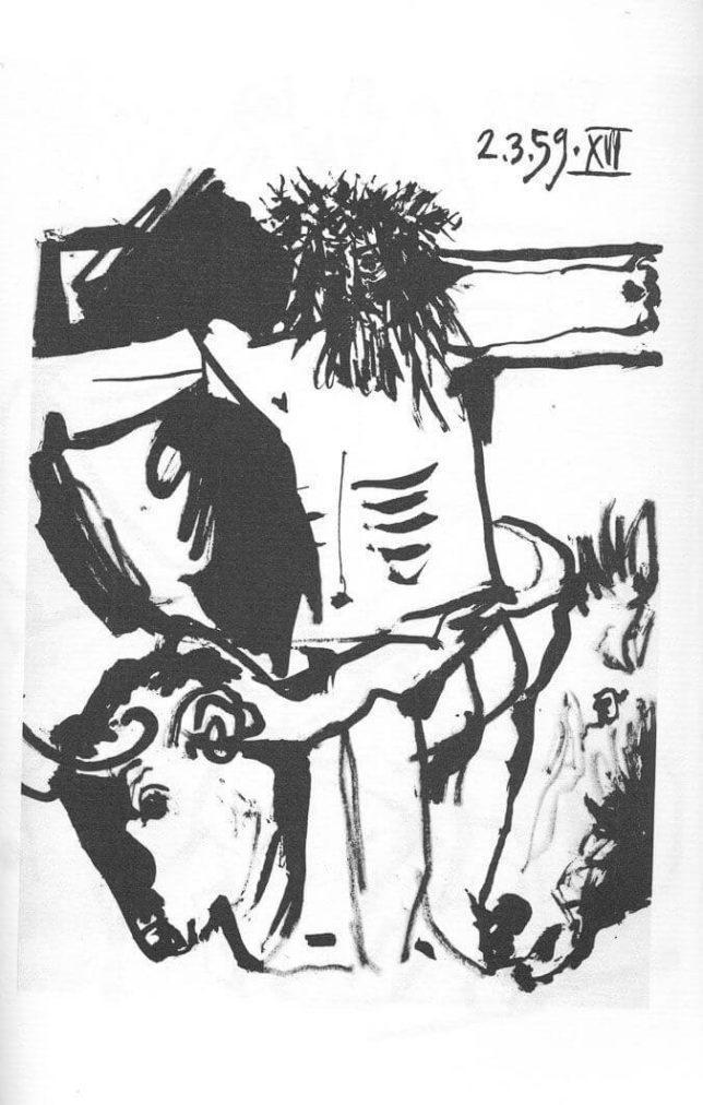 Picasso, Crucificado con cabeza de toro y caballo, 2.3.1959 (XVI).