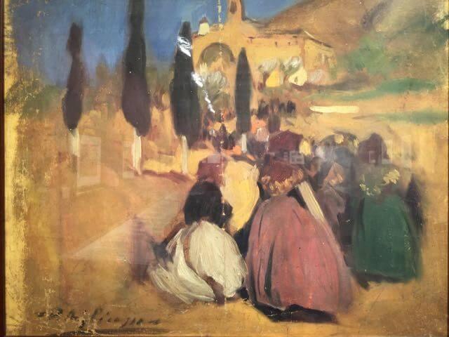 """Picasso, """"Procesión al convento"""" Horta de San Joan, junio 1898- febrero 1899. Posiblemente se trata de la procesión del día de la Virgen de los Ángeles, el 2 de agosto."""