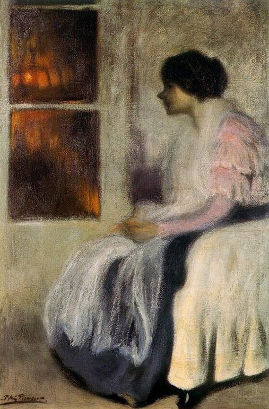 """Picasso, """"Lola delante de una ventana"""" ¿1899? Óleo sobre tela. 151 x 100 cm. Colección Marina Picasso."""