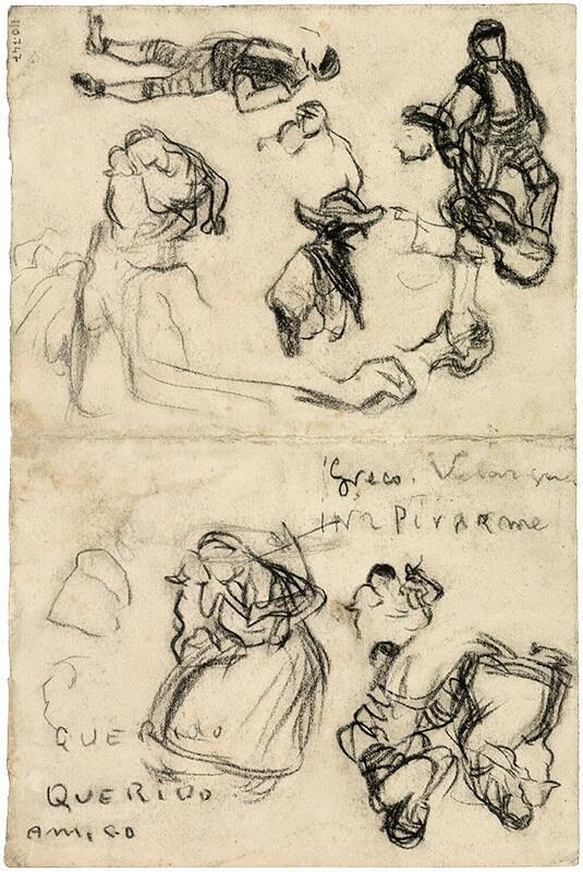 Pablo Picasso. Página del cuaderno de dibujos con la inscripción: «Greco, Velázquez INSPIRARME». Horta de Sant Joan, 1898-1899. Lápiz Conté sobre papel. 24,3 x 16,2 cm. Museu Picasso, Barcelona.
