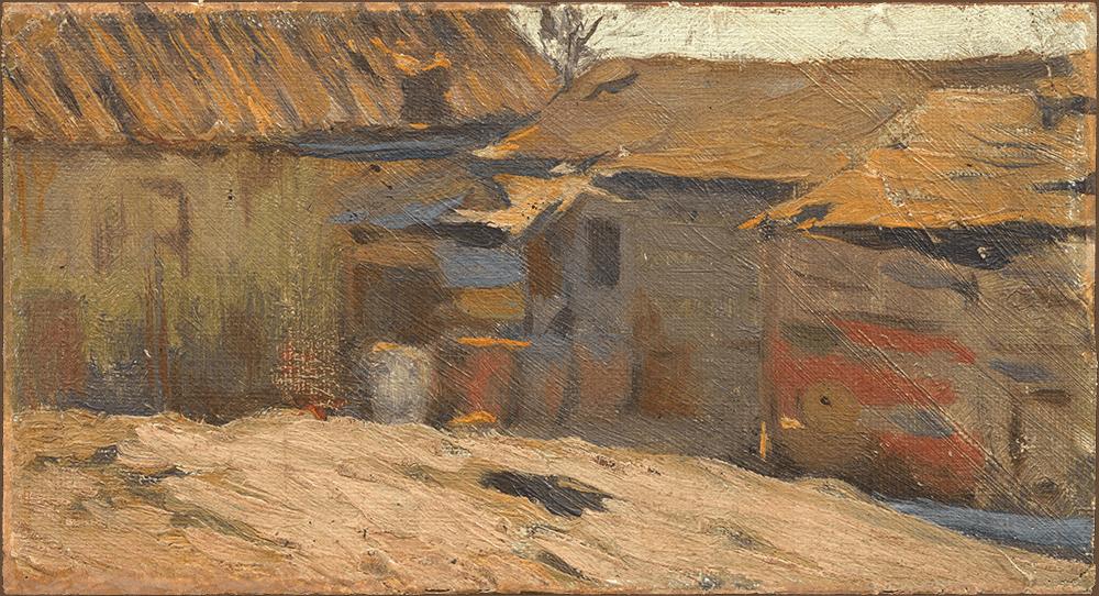 Pablo Picasso. Vista de una calle de Horta de Sant Joan. Horta de Sant Joan, 1898-1899. Óleo sobre tela adherida sobre madera. 9,4 x 14,1 cm.