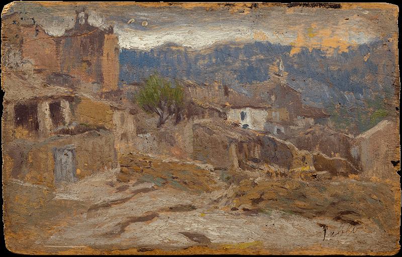 Pablo Picasso. Vista parcial de Horta de Sant Joan. Horta de Sant Joan, 1898-1899. Óleo sobre tabla. 10 x 15,5 cm