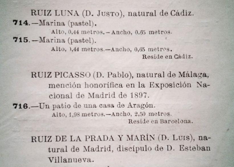 Página del Catálogo de la Exposición de Bellas Artes 1899, Madrid, 1899 (edición oficial) en la que aparece referenciado Pablo Ruiz Picasso.