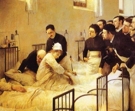 """Luis Jiménez Aranda (1845-1928) """"La visita al hospital"""". Primera medalla de la Exposición de Bellas Artes española en 1892. Museo del Prado, Madrid."""