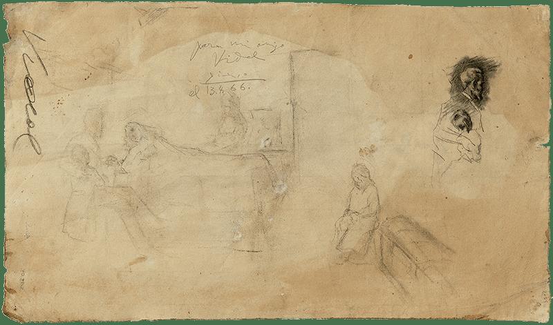 """Picasso, Dibujo para """"Ciencia y caridad"""". 1897."""