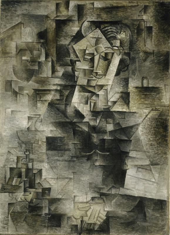 """cubismo analítico de, """"Retrato de D.H. Kahnweiler"""", 1910, París. Instituto de Arte de Chicago."""