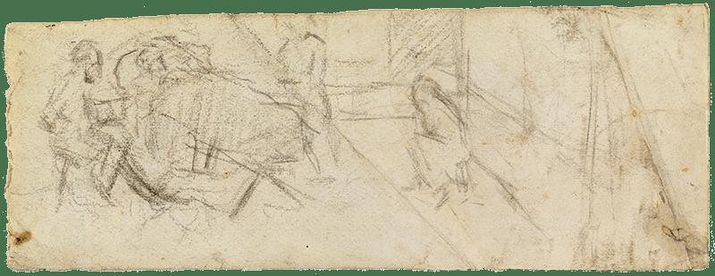 """Picasso, Dibujo para """"Ciencia y caridad"""".1897. Carboncillo sobre papel."""