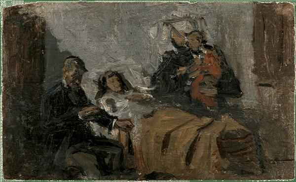 """Pablo Picasso. Boceto al óleo para """"Ciencia y caridad"""". Barcelona, 1897."""