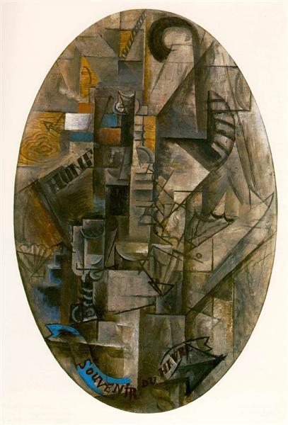 "Cubismo analítico de Picasso, ""Recuerdo de Havre"", 1912."
