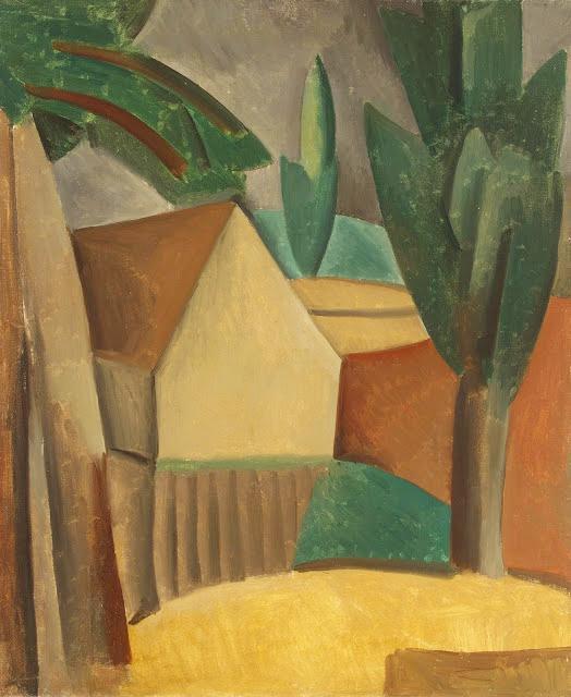 """cubismo analítico de, """"Casa en un jardín"""", 1908."""
