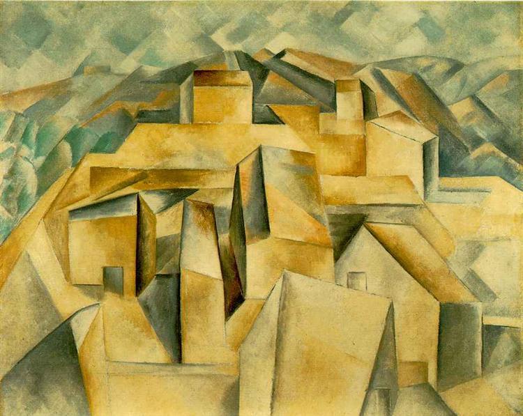 """Cubismo analítico de Picasso, """"Casas en el cerro"""" (Horta de Ebro), 1909."""