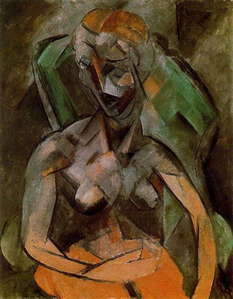 """Cubismo analítico de Picasso, """"Desnudo femenino"""", 1908."""