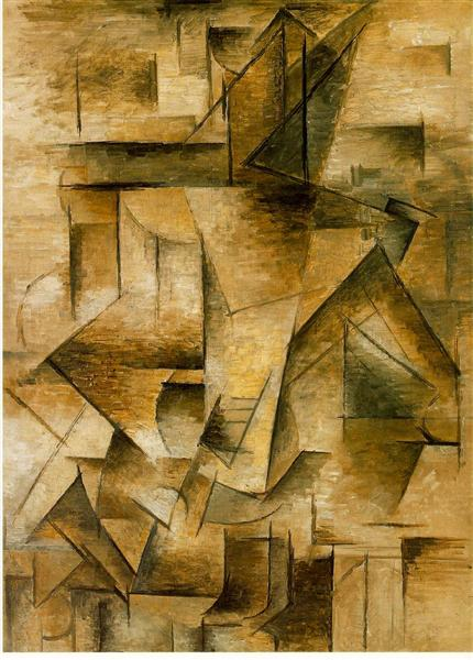 """Cubismo analítico de Picasso, """"Guitarrista"""", 1910."""