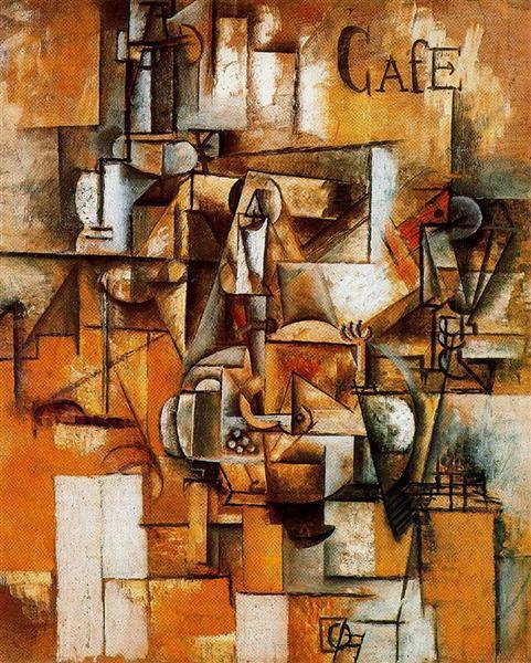 """Cubismo analítico de Picasso, """"Le pigeon aux petits pois», 1912"""