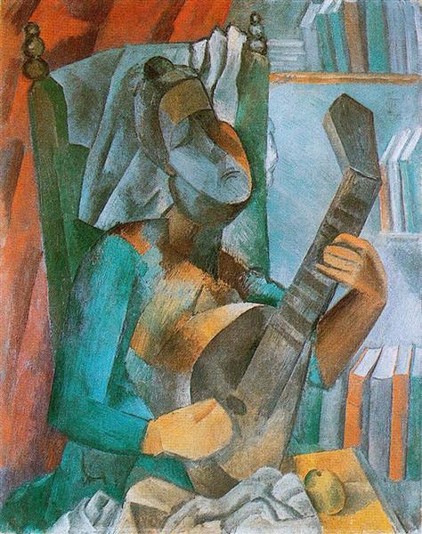 "Cubismo analítico de Picasso, ""Mujer con mandolina"", 1909."