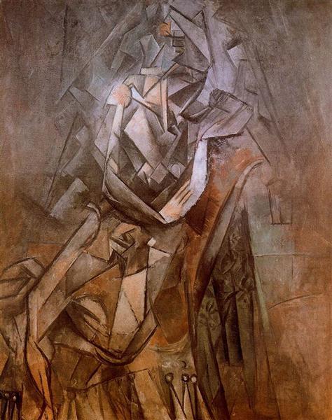"Cubismo analítico de Picasso, ""Mujer sentado en un sillón"", 1912."