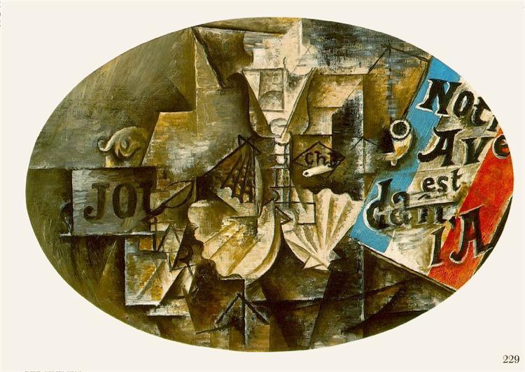 """Cubismo analítico de Picasso, """"Nuestro futuro está en el aire"""", 1912."""