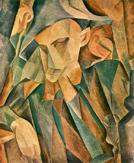 """Cubismo analítico de Picasso, """"Arlequín inclinado"""", 1909."""