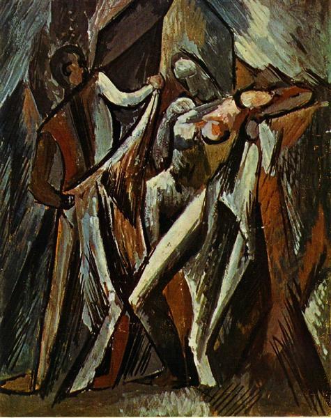 "Cubismo analítico de Picasso, ""Bañista secándose"", 1909."