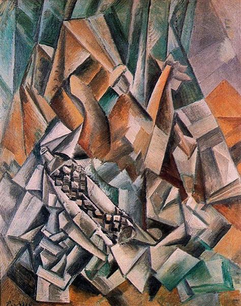 """Cubismo analítico de Picasso, """"Bodegón con botella de anís el mono"""", 1909."""