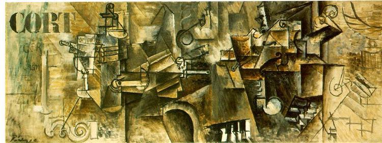 "Cubismo analítico de Picasso,""Bodegón en un piano"", 1911."