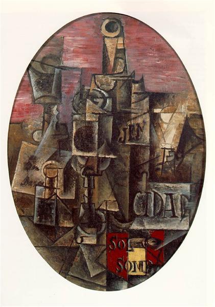 """Cubismo analítico de Picasso, """"Bodegón español"""", 1912."""