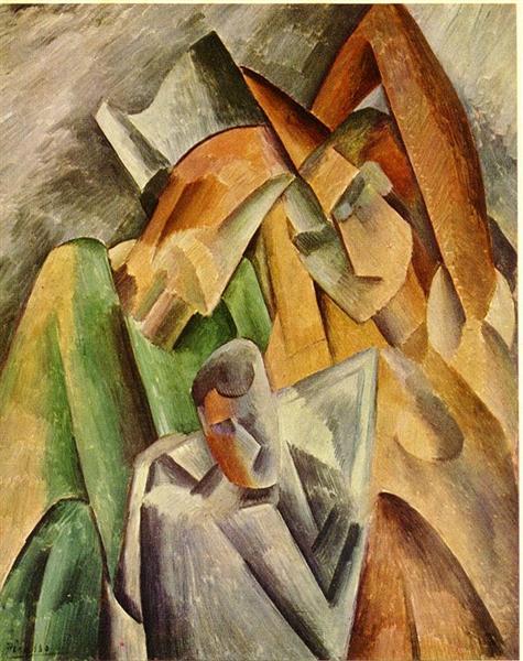 """Cubismo analítico de Picasso, """"Cabeza de arlequín"""", 1908."""