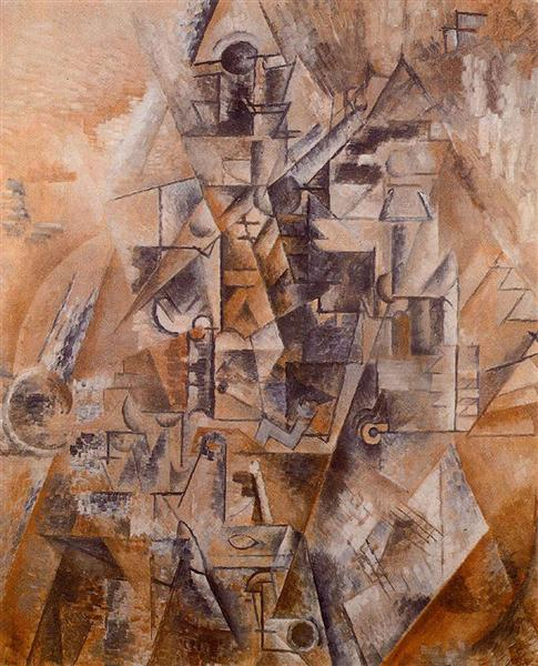 "Cubismo analítico de Picasso, ""Clarinetista"", 1911."