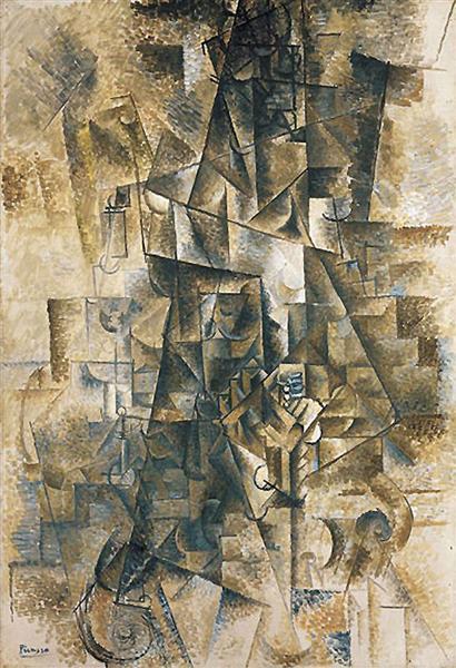 """Cubismo analítico de Picasso, """"El acordeonista"""", 1911."""
