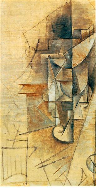 """Cubismo analítico de Picasso, """"El vaso"""", 1911."""