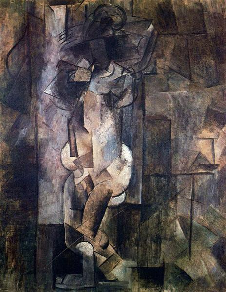 """Cubismo analítico de Picasso, """"Figura desnuda"""", 1910."""