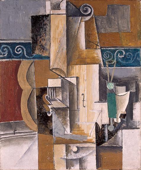 """Cubismo analítico de Picasso, """"Guitarra y violín"""", 1912."""