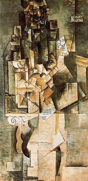 "Cubismo analítico de Picasso, ""Hombre con guitarra"", 1911."