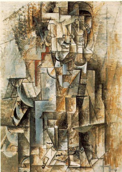 "Cubismo analítico de Picasso, ""Hombre con guitarra"", 1912."