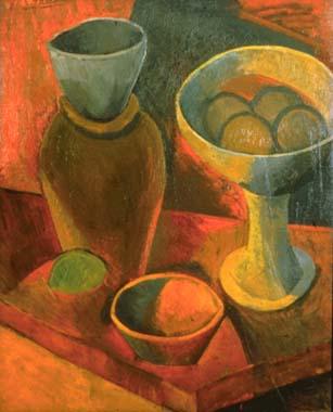 """Cubismo analítico de Picasso, """"Jarra y cuenco de frutas"""", 1908."""