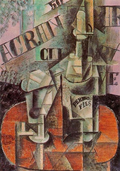 """Cubismo analítico de Picasso, """"Mesa en un café (botella de Pernod)"""", 1912."""