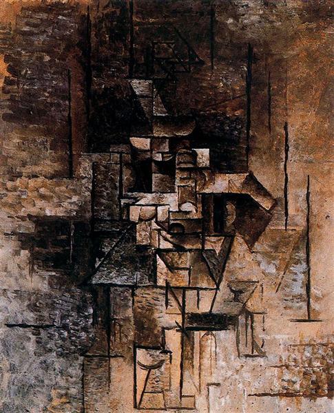 """Cubismo analítico de Picasso, """"Mujer con guitarra"""", 1911."""