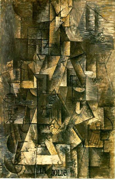 """Cubismo analítico de Picasso, """"Mujer con guitarra"""", 1912."""