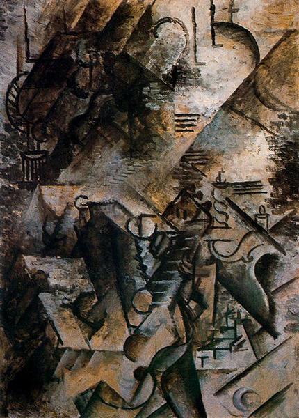 """Cubismo analítico de Picasso, """"Mujer con guitarra y piano"""", 1911."""