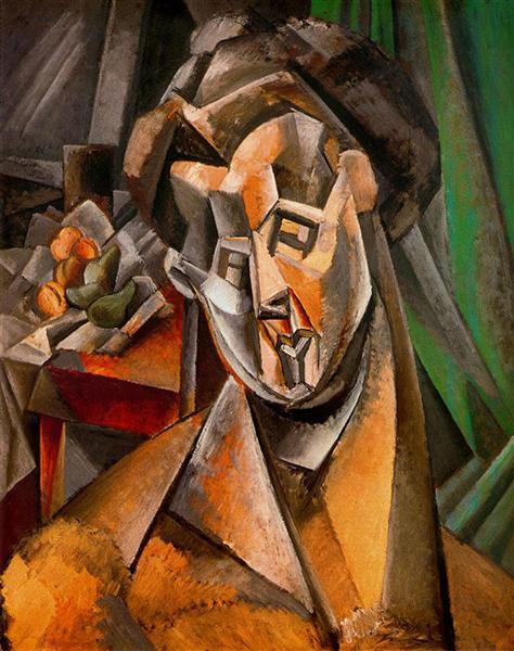 """Cubismo analítico de Picasso, """"Mujer con peras"""" (Fernande), 1909."""