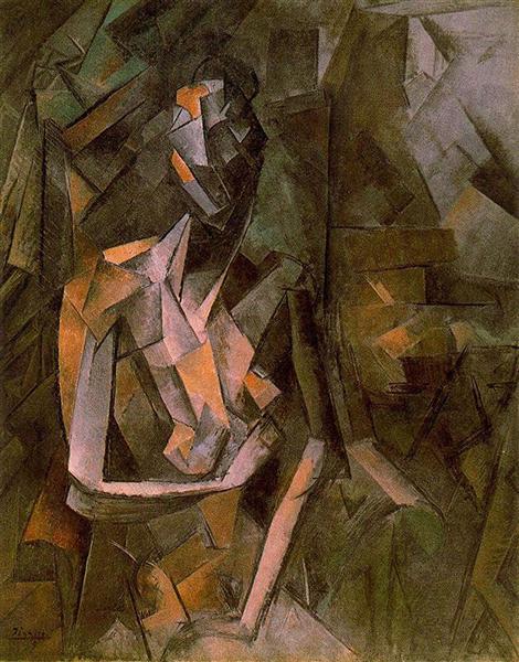 """Cubismo analítico de Picasso, """"Mujer desnuda sentada"""", 1910."""